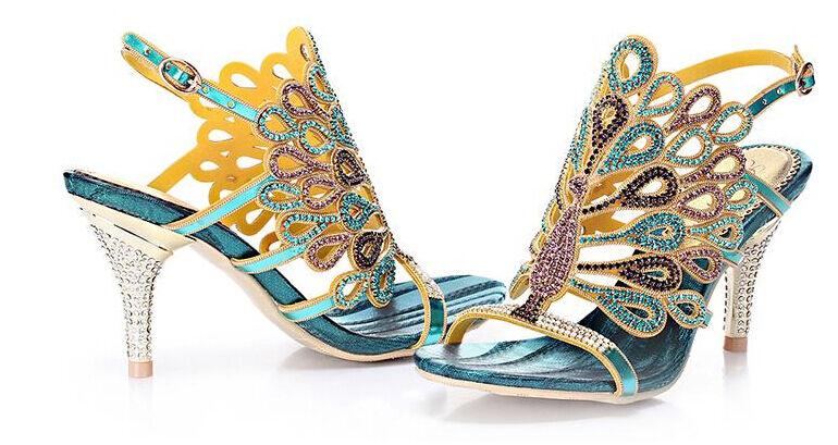 Lady Peacock Strass High Heel Hochzeit Vogue Abendkleid Sandale Schuhe Pumps Neu