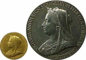 1897-QUEEN-VICTORIA-DIAMOND-JUBILEE-GOLD-Medal-amp-Silver-Medallion