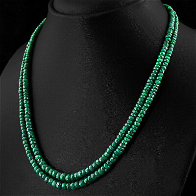 Jewelry & Watches Adaptable 242.90 Cts Natural 2 Strand Rich Green Emerald Round Faceted Beads Necklace Grade Products According To Quality