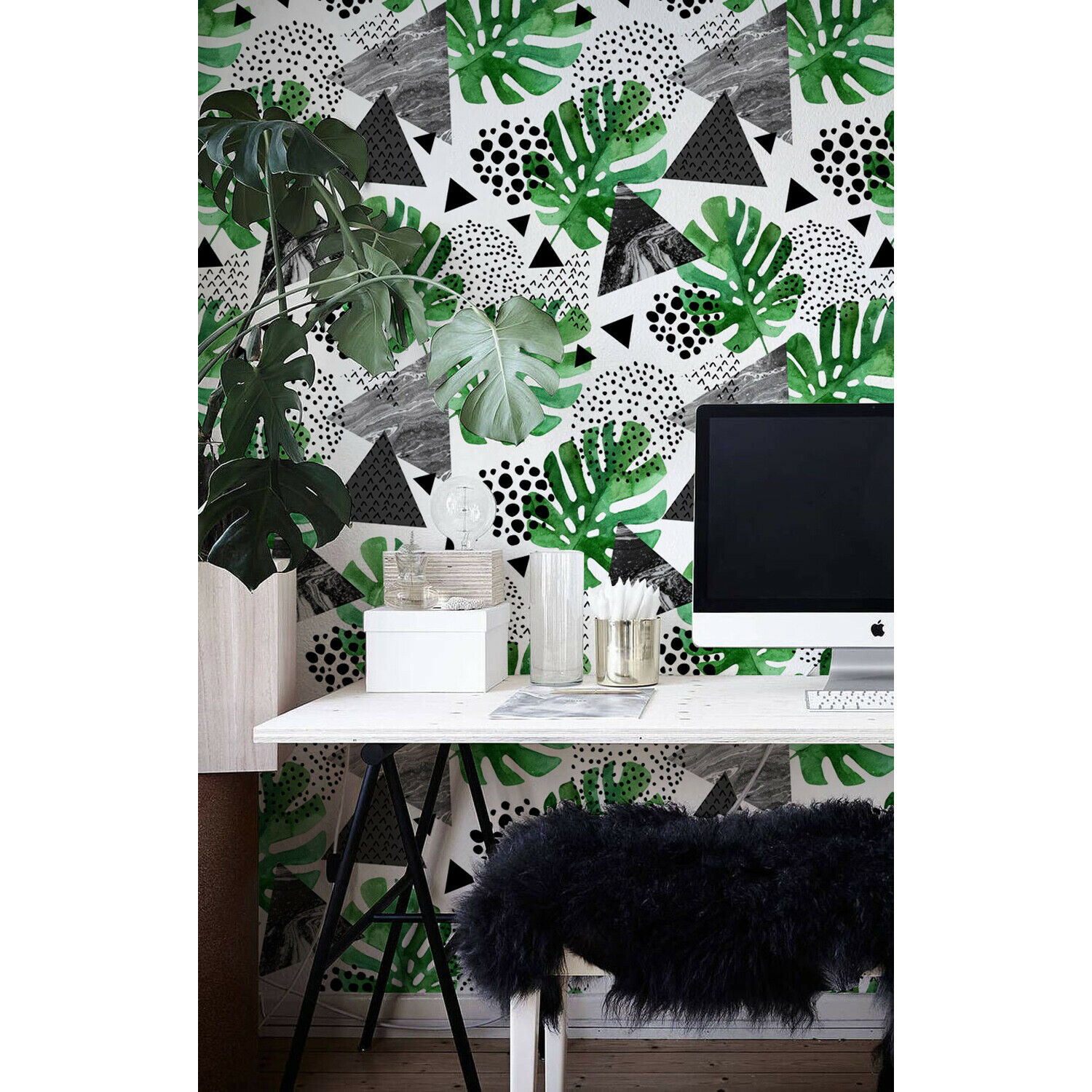 Abstract Jungle Non-woven wallpaper Geometric Tropical Illustration Wall Mural