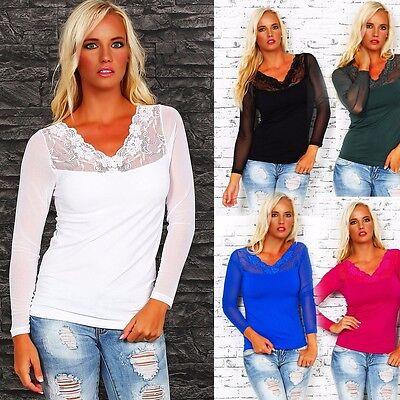 10185 Langarm  Damen T-Shirt mit Spitze langarm Top Bluse Shirt Tunika Hemd