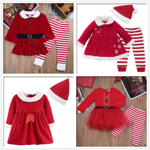 Girls Baby Christmas Santa Claus Dress+Pants Xmas Fancy Costume Outfits Clothes