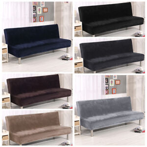 Peachy Uk Solid Plush Folding Armless Sofa Futon Cover Seater Home Interior And Landscaping Ponolsignezvosmurscom