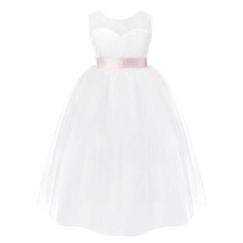 Fleur Fille Princesse dentelle demoiselle d/'honneur robe de mariée Kids Pageant Dentelle Tulle Robe