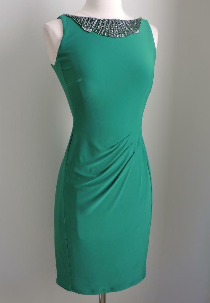NWT RALPH LAUREN Italian Emerald Beaded Sheath Dress 12 ( Large )