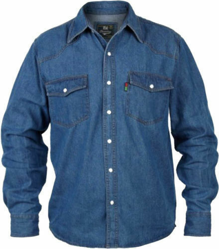 BIG da uomo Duke KingDimensione Western Camicia Di Jeans con bottoni popper-Stone Wash Blu