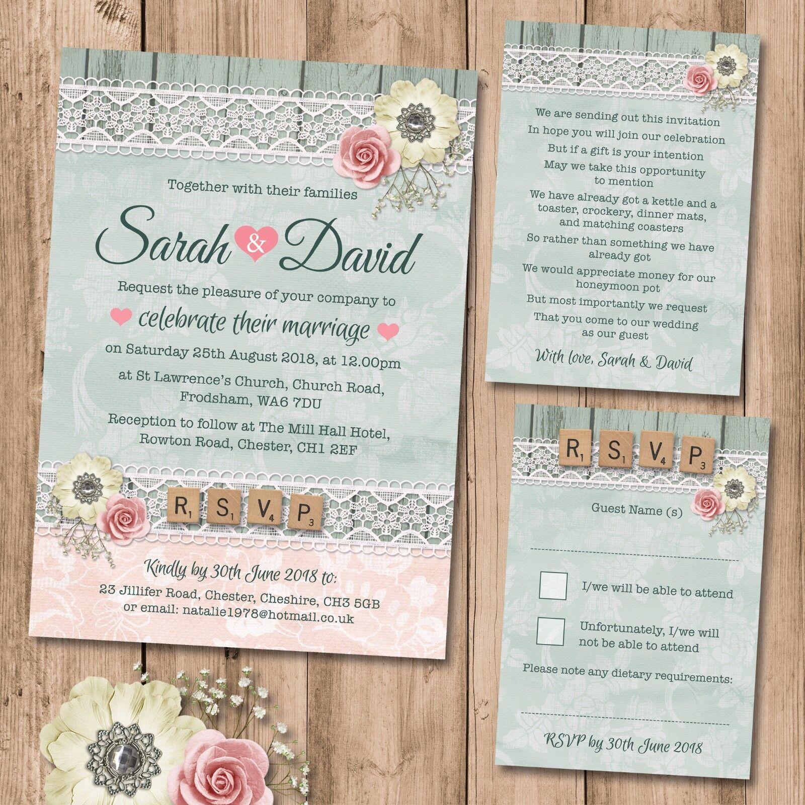 Wedding Invitation Gift: Wedding Invitation, RSVP And Gift Poem