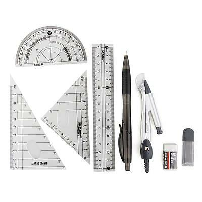 School Math Geometry Set Squares Protractor Ruler Compass Pencil Leads Eraser