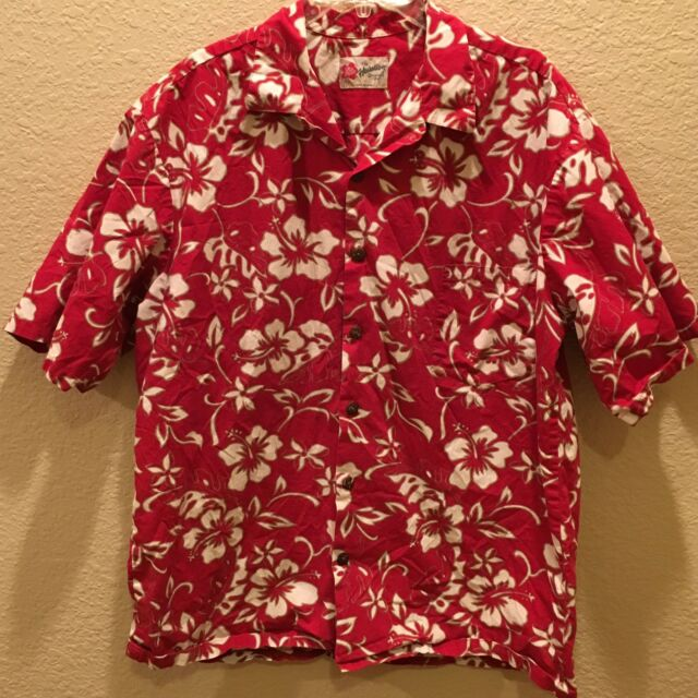 ffafc39454 Details about HILO HATTIE Large Hawaiian Aloha Shirt Blue & White Floral  Hibiscus