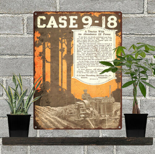 "CASE 9-18 KEROSENE TRACTOR Threshing Metal Sign Repro 9x12/"" 60530 I 1918 J"