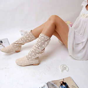 Botas de mujer perforado verano color claro tacón bajo código 8013