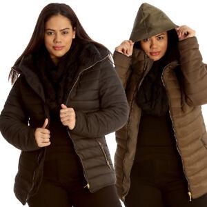 Size caldo trapuntata Faux con Jacket Fur Women New Zip imbottito cappuccio Donna pesante Plus tTBBAw