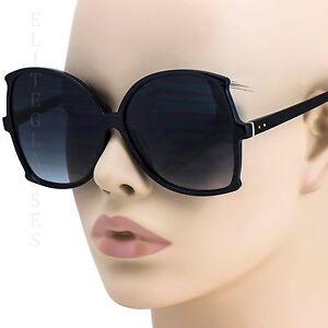 15e497d7ed156 Image is loading NEW-Large-Oversized-Square-Sunglasses-Black-Lens-Retro-