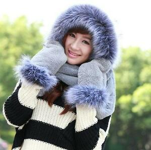 Winter-Warm-Women-039-s-Hoodie-Gloves-Pocket-Earflap-Hat-Long-Scarf-Shawl-Snood-Wrap