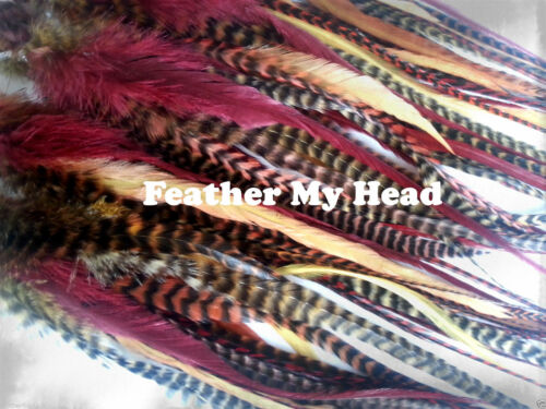 Crafts 15 Pc Wide Accent Feather Hair Extenions Fly Tying Warm Tones