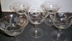 5-CRYSTAL-GOBLETS-CUT-FLORAL-AND-STEM-DESIGN-4-5-8-039-039-TALL