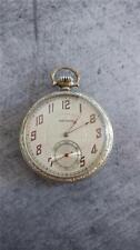 VINTAGE 12 SIZE WALTHAM POCKET WATCH WITH UNUSUAL RED HANDS AND CUMBERS