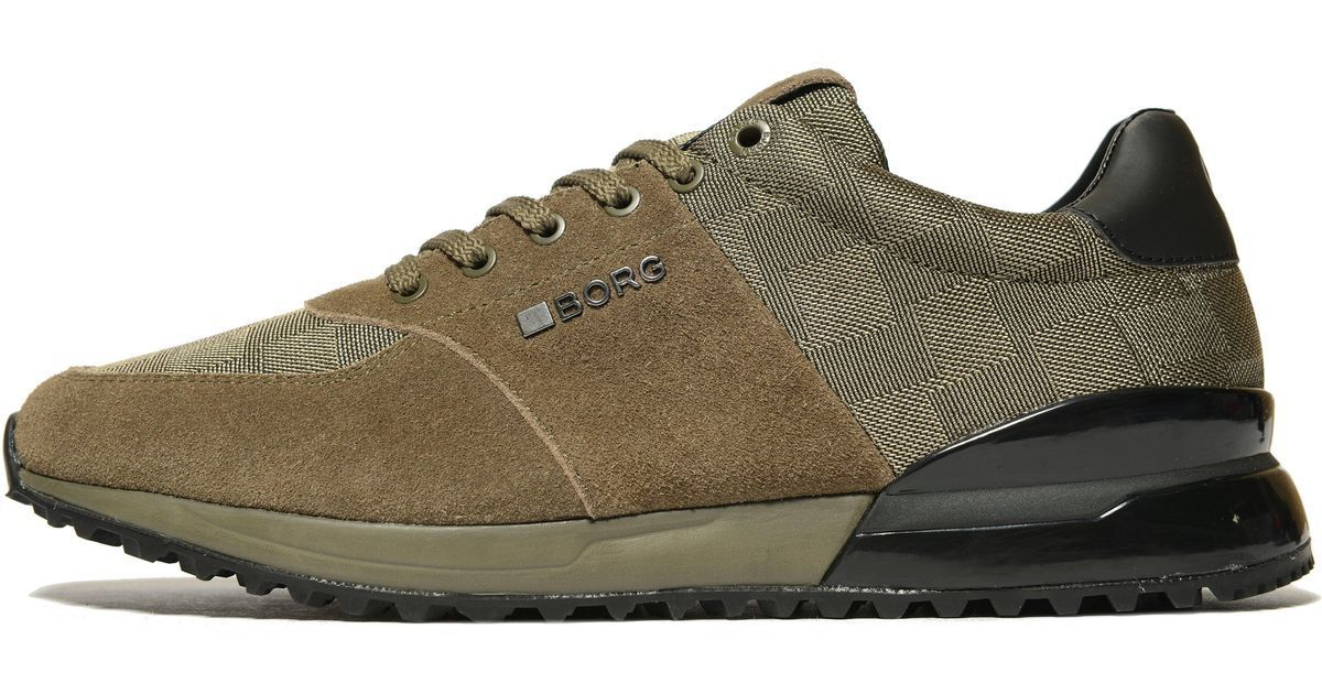 Bjorn Borg R200 Olive Green Suede And Check Trainers