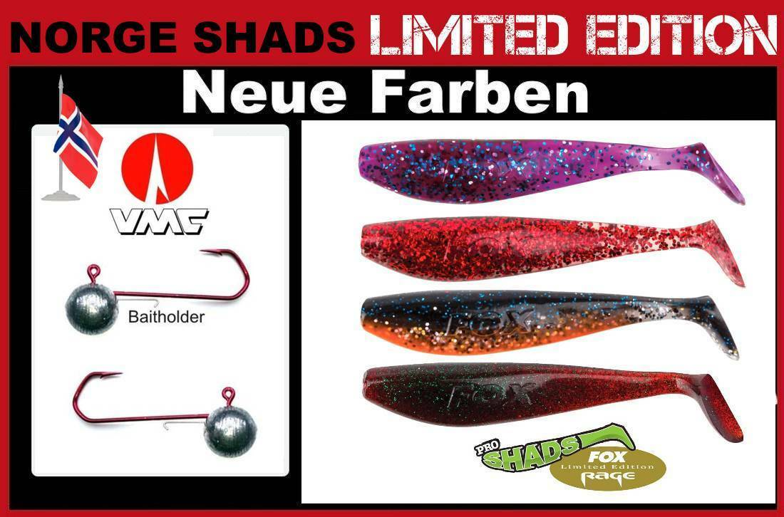 6 Pièces Set NORGE-Shads Fox Rage Pro Shad + VMC-Baitholder Crochet gigue Crochet VMC-Baitholder dans 75 g 55bb28