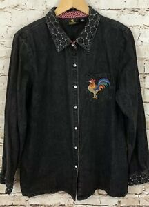 Quacker-Factory-french-country-rooster-denim-shirt-womens-large-button-front-B4