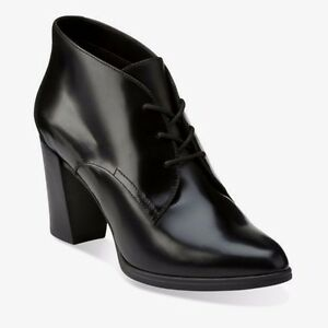 New Clarks womens Leather Smart Ankle Boots Work Office Formal Black ... 5f4bd409d3