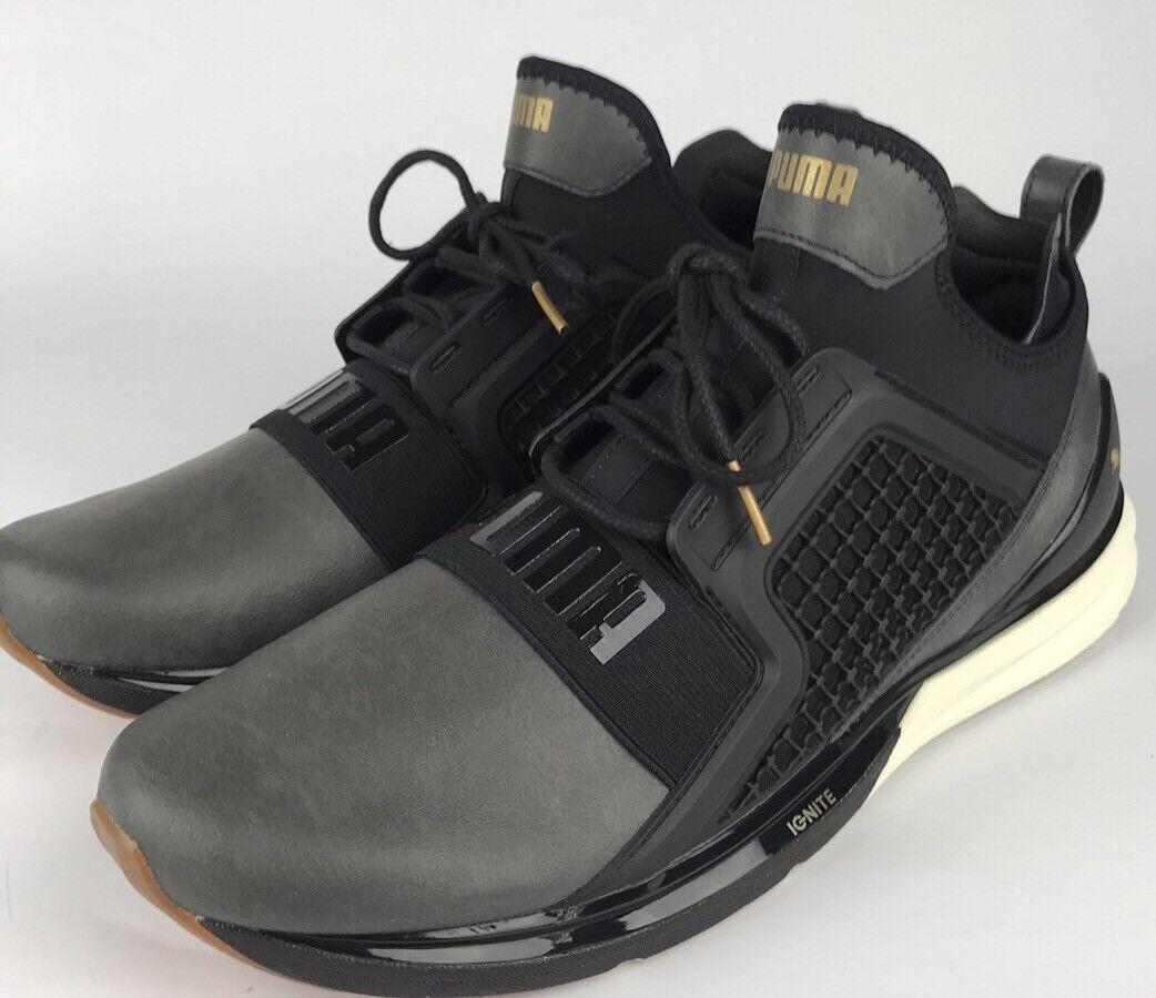 Puma Hombre zapatillas Ignite ilimitada 18998901 cuero zapatillas Hombre Negro & Oro price reduction 1c8f3f
