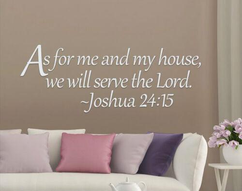 Joshua 24:15 comme pour moi et ma maison Bible verset citation Vinyl Wall Decal Sticker