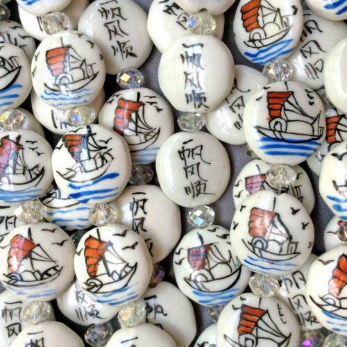 Blue White Red China Sailboat Boat Motif 22mm Coin Ceramic Beads Q2 Strands