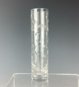 Baccarat-France-French-Crystal-Etched-Leaf-Shelf-Mantle-8-034-Bud-Flower-Vase-TLW