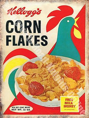 Vintage Food, 76, Corn Flakes Cereal Cafe Kitchen Old Shop, Small Metal/Tin Sign