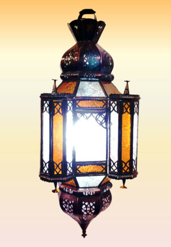 4-Enfants-CLAIR /& VERRE AMBRE Maroc-plafond-Lanterne-Mère 55 cm