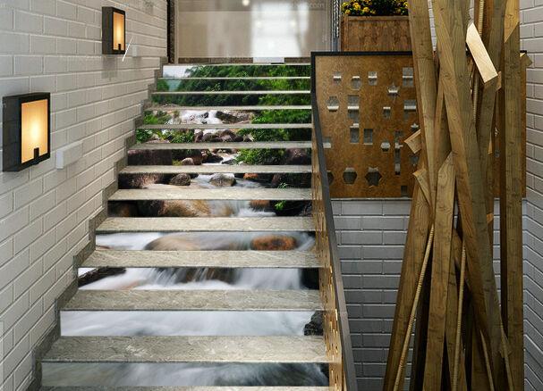 3D Wald Fluss 433 Stair Risers Dekoration Fototapete Vinyl Aufkleber Tapete DE