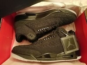 new arrival 33f69 acd5c Details about Air Jordan Retro 3 III Flyknit Sz. 11 Black - 1234567891011  Cement