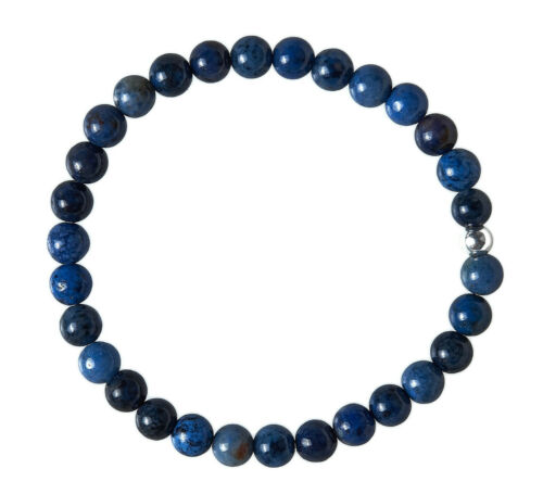 Dumortierit Edelstein-Armband Stretch Perlenarmband D100