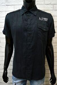 ARMANI-JEANS-Blu-Camicia-in-Lino-Uomo-Taglia-M-Camicetta-Polo-T-Shirt-Men-039-s-Hemd