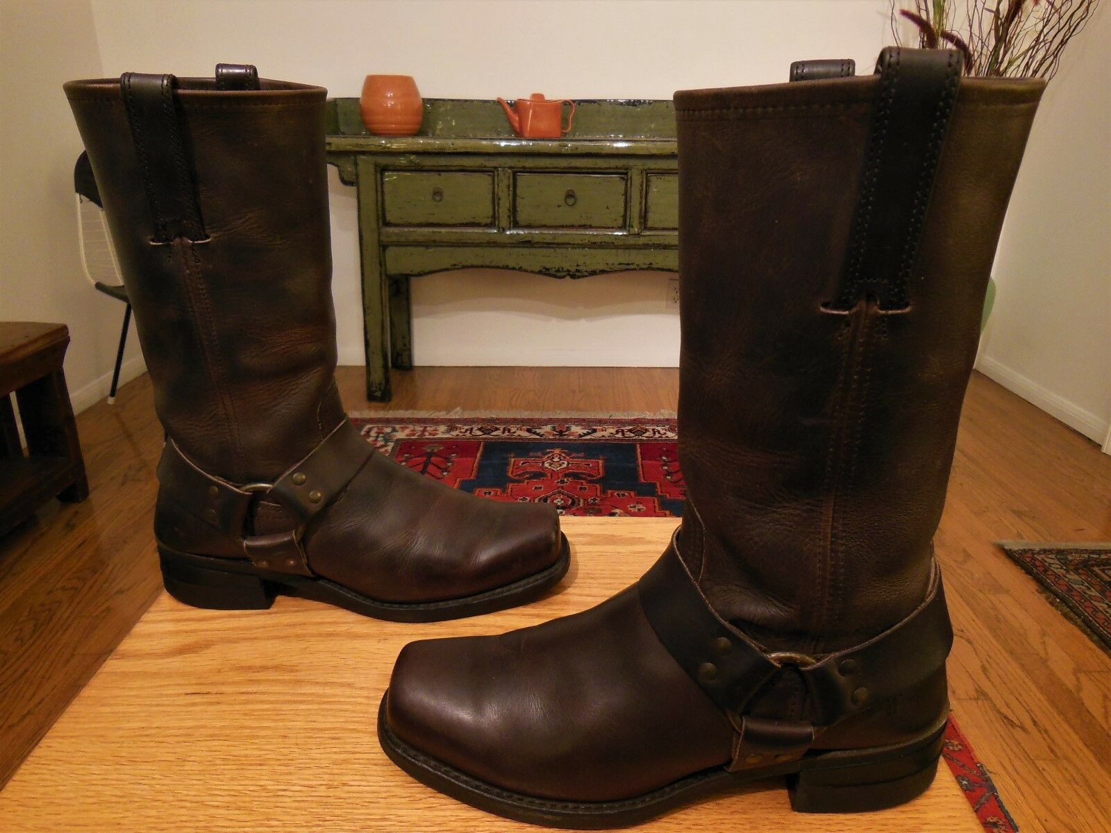 Vtg FRYE Men's Brown Leather 12R Harness, Biker, Urban Hipster Style Boots 8.5M