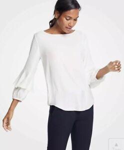 NWT-Womens-Ann-Taylor-Winter-White-Lantern-Ruffle-Sleeve-Blouse-Top-Sz-XL