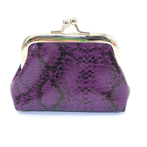 Buckle Coin Purse Pu Leather Card Holder Mini Wallet Trend Snakeskin Pattern YD