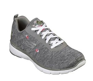 Details about Skechers NEW Flex Appeal In Blossom grey floral embroidered trainers sizes 3 8