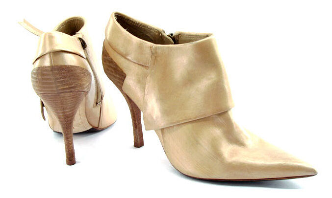 New STUDIO 9 Women Gold Leather Ankle High Heel Pointy Toe Boot Shoe Sz 7.5 M