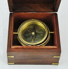 "Vintage marine compass in wooden box 4 1/2"" x 4 1/2"" x 3 1/4"" . (BI#MK/0217.TMP)"