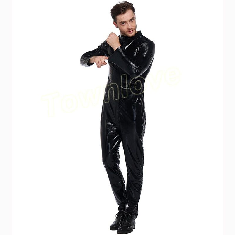 Mens Stretch Patent Leather Overall Jumpsuit Motorcycle Nightclub Outwear Suit