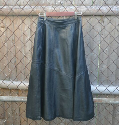 Vintage 80s soft black leather circle skirt high w