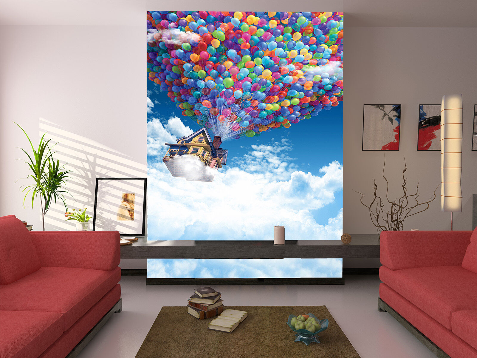 3D Sky House Balloon Paper Wall Print Wall Decal Wall Deco Indoor Murals