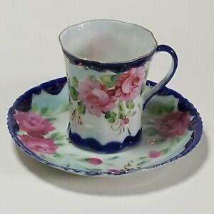 Unmarked-Pink-Roses-Gold-Cobalt-Blue-Trim-Demitasse-Coffee-Tea-Cup-amp-Saucer-Set