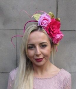 Image is loading Hot-Light-Pink-Gold-Feather-Flower-Fascinator-Headband- 827761048fa