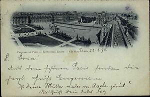 Paris-Frankreich-France-AK-1911-Nouveau-Louvre-Museum-Gebaeude-Bauwerk-Platz-Park