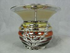 Rare Edelstein Art Deco design  Silber Porzellan Vase  # silver overlay 10 cm