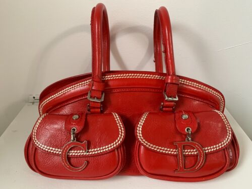 Red Christian Dior Detective Handbag Satchel