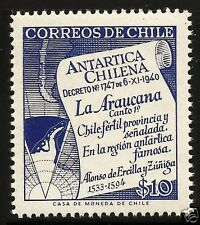 CHILE, CHILEAN ANTARCTIC TERRITORY MAP, 1958, MNH